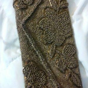 Vintage Copper Gold Beaded Clutch Bag